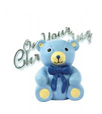 Blue Teddy Bear Resin Topper with Christening Motto